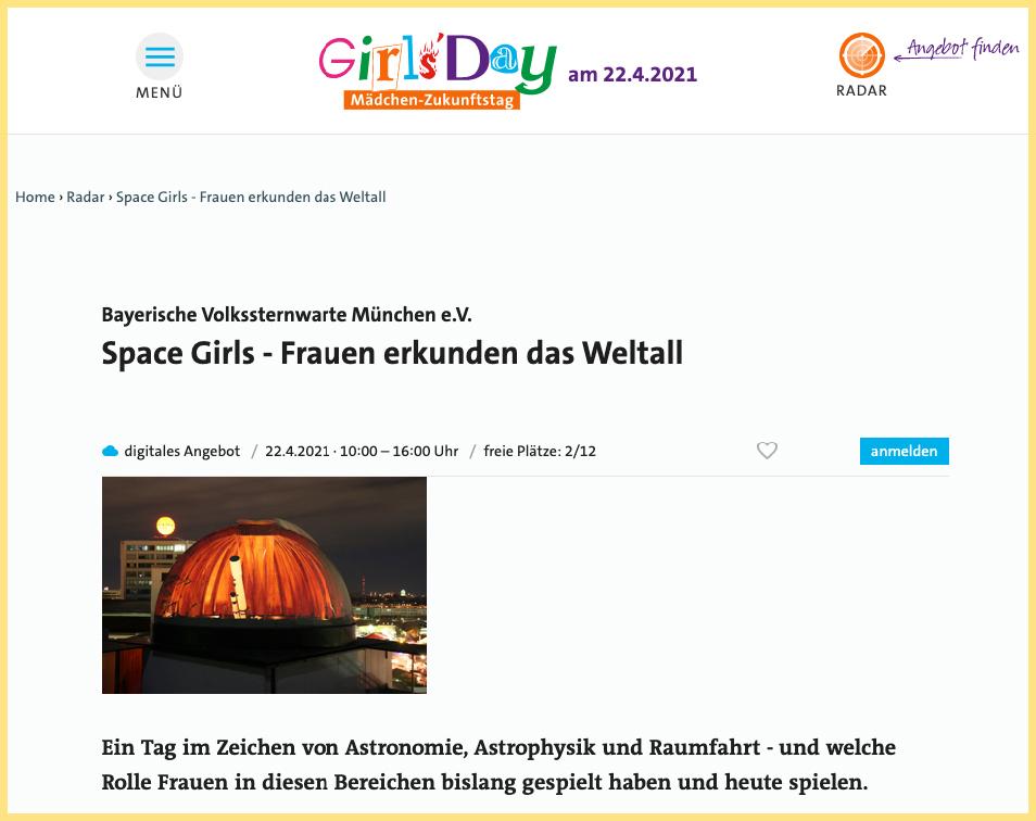 Girlsday Ausschnitt Webseite